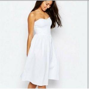 ASOS white strapless midi dress